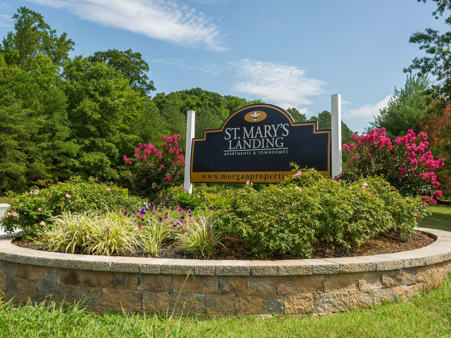 Entrance Sign at St. Mary's Landing Apartments & Townhomes