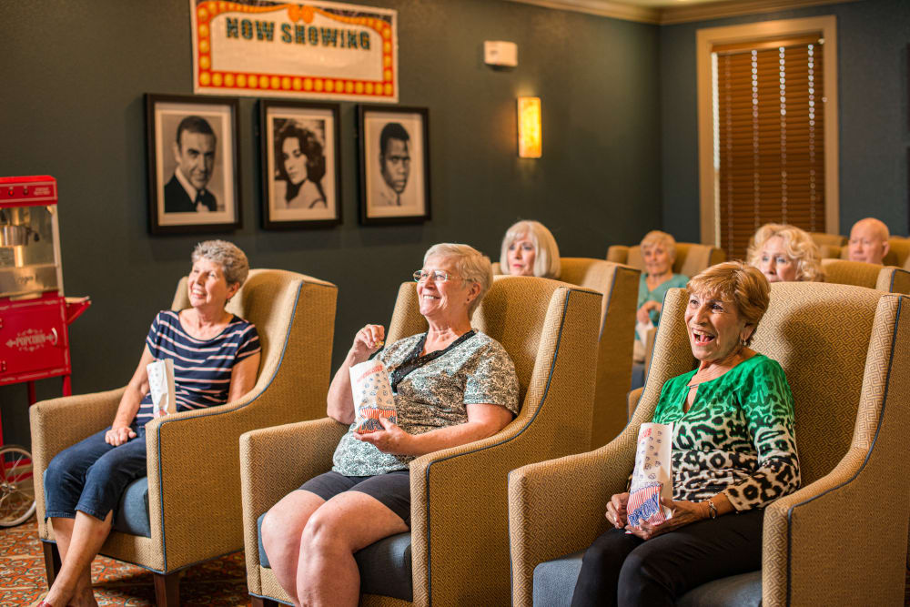 Residents watching a movie at Watermere at the Preserve in North Richland Hills, Texas