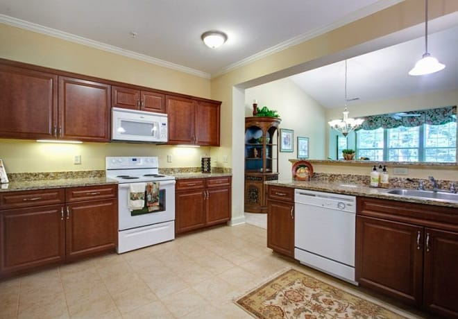 Kitchen at Waltonwood Cary Parkway in Cary, NC