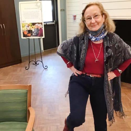 Resident dancing at Oxford Glen Memory Care at Grand Prairie in Grand Prairie, Texas