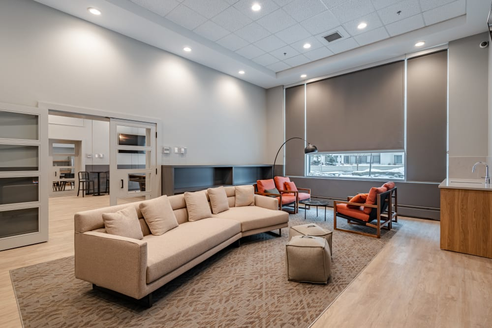 Social lounge and games room at Discovery Pointe in Calgary