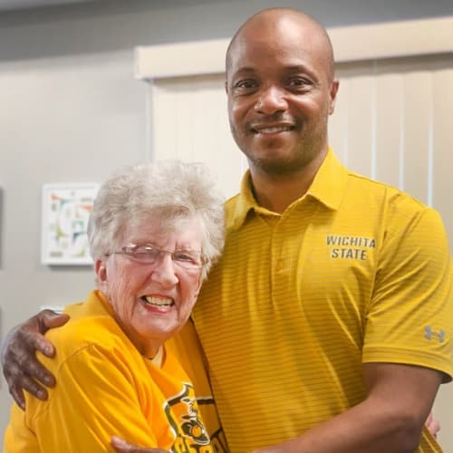 Resident and WSU coach at The Oxford Grand Assisted Living & Memory Care in Wichita, Kansas