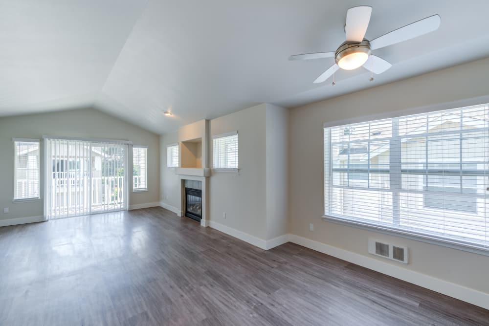 Hardwood floors in model apartment home at Bradley Park Apartments in Puyallup, Washington