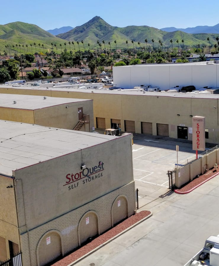 Exterior of the main entrance at StorQuest Self Storage in Riverside, California