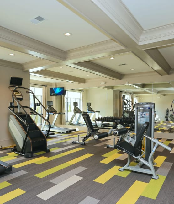 Well-equipped fitness center at The Heights at Sugarloaf in Duluth, Georgia