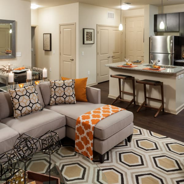 Living room layout at Jefferson Westshore in Tampa, Florida