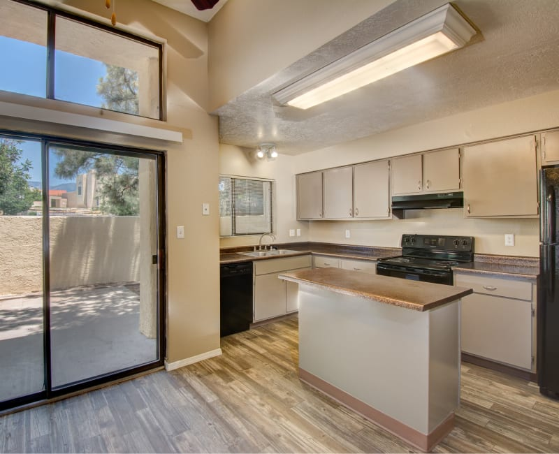 Spacious kitchen with lots of windows for natural lighting at Mesa Del Oso in Albuquerque, New Mexico