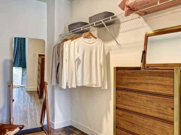 Spacious walk-in closet at Vela on the Park in Stamford, Connecticut
