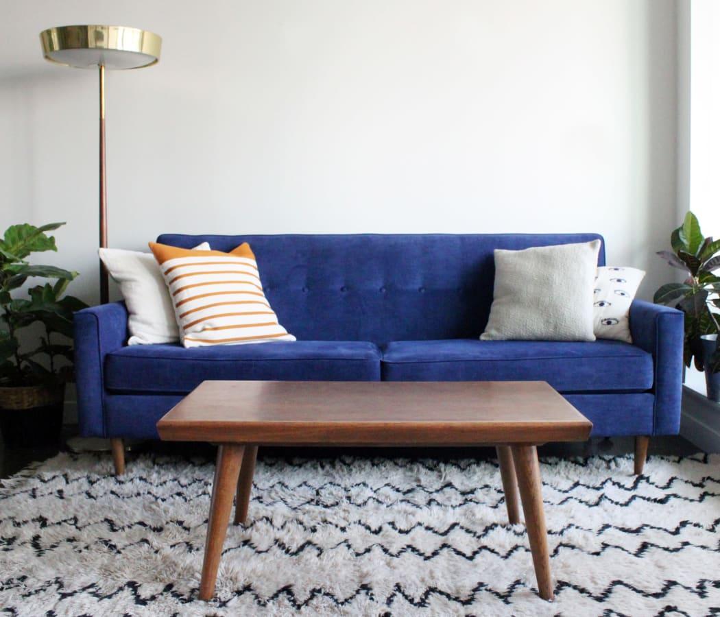 Beautifully designed living room in model home at 910 Casanova in Monterey, California