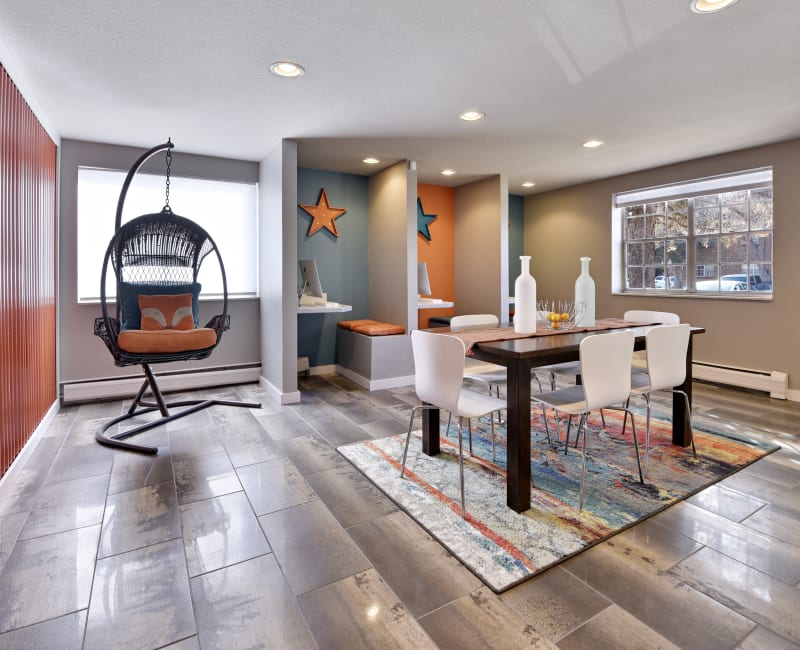 Eclectically decorated business center at Ten 30 and 49 Apartments in Broomfield, Colorado