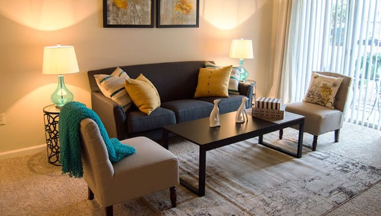 Well-decorated model living room at The Residences of Westover Hills in Richmond, Virginia