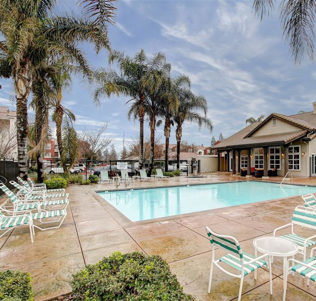 Pool area at Eaglewood Apartments in Woodland, California