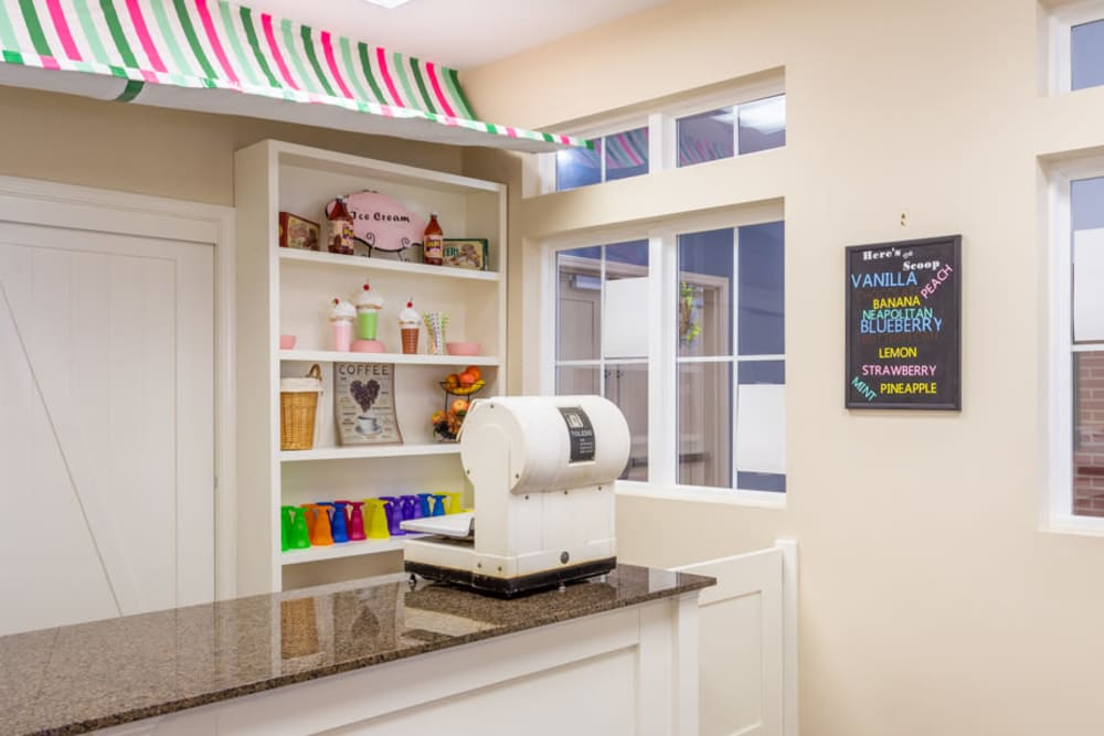 Ice cream shop in Harmony Square at The Harmony Collection at Roanoke - Memory Care in Roanoke, Virginia