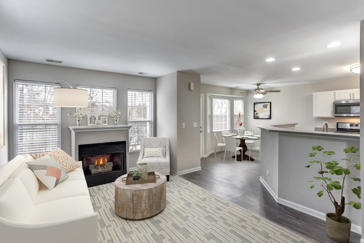 Living room at Lakeview Townhomes at Fox Valley