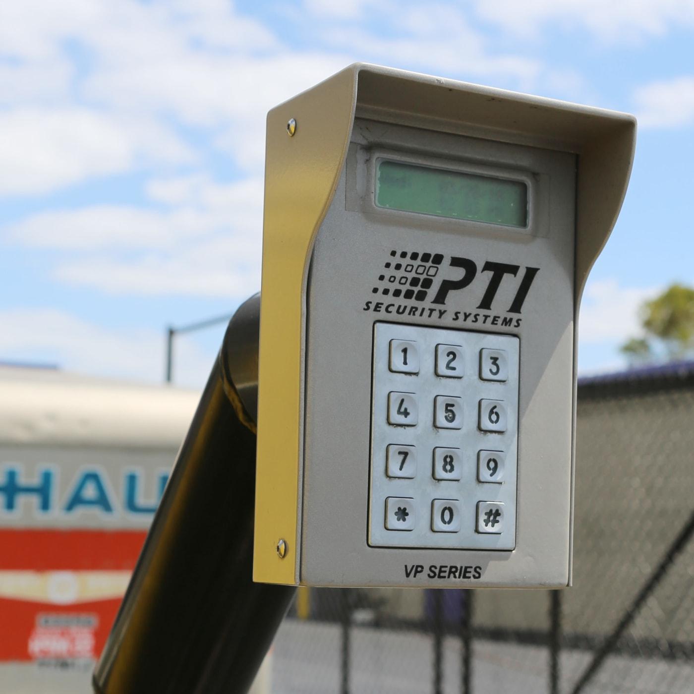 Keypad entrance to Midgard Self Storage in Melbourne, Florida