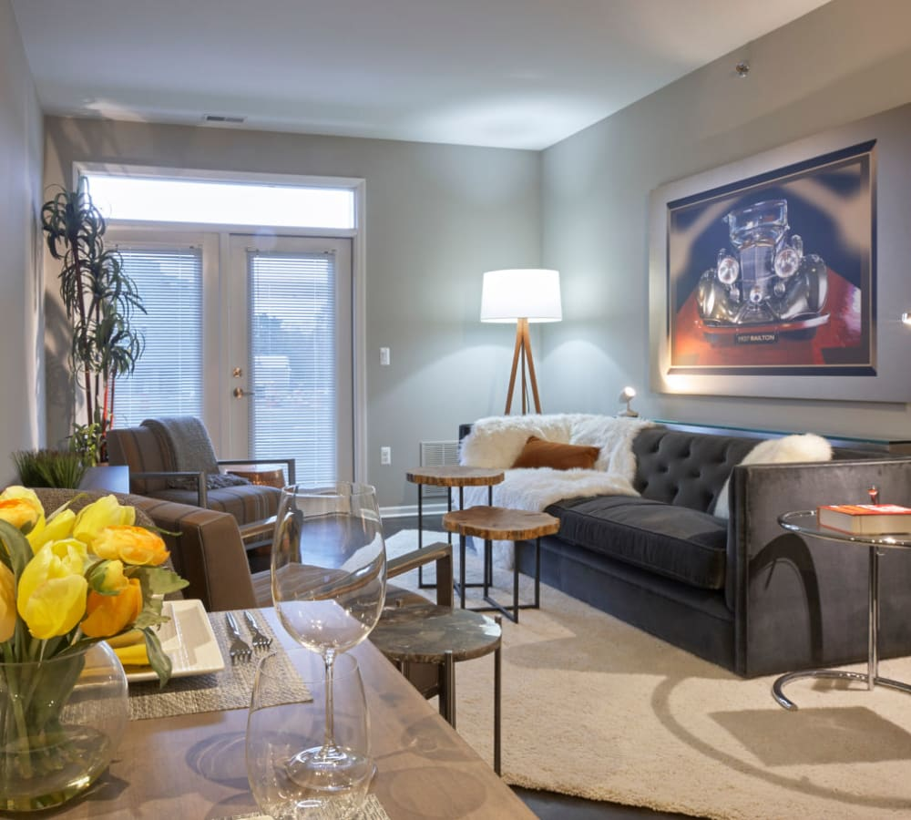 Open living room and dining room area at Uptown Ann Arbor