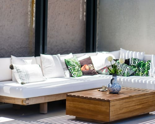 Stylish outdoor spaces at Bradlee Danvers in Danvers, Massachusetts