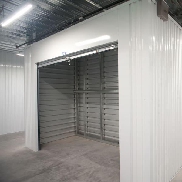 An open indoor storage unit at StorQuest Self Storage in Reno, Nevada