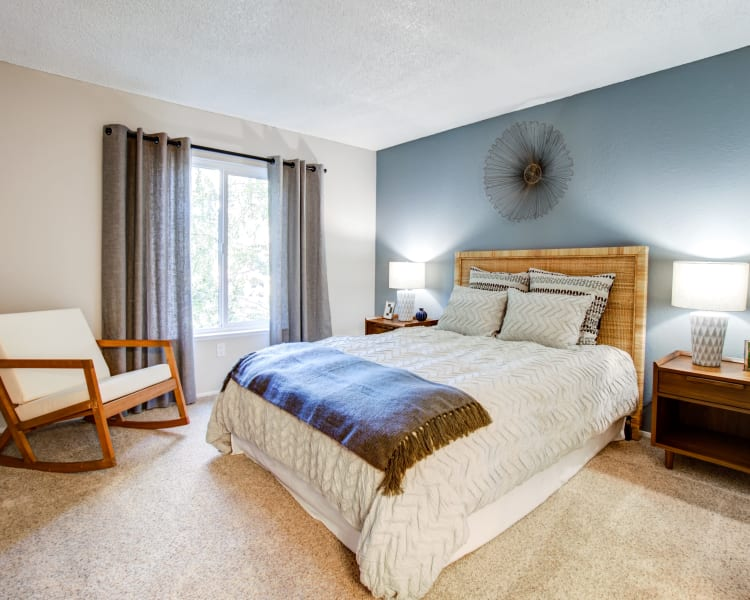 Well-furnished master bedroom with an accent wall and draped windows in a model home at Waterstone Fremont in Fremont, California