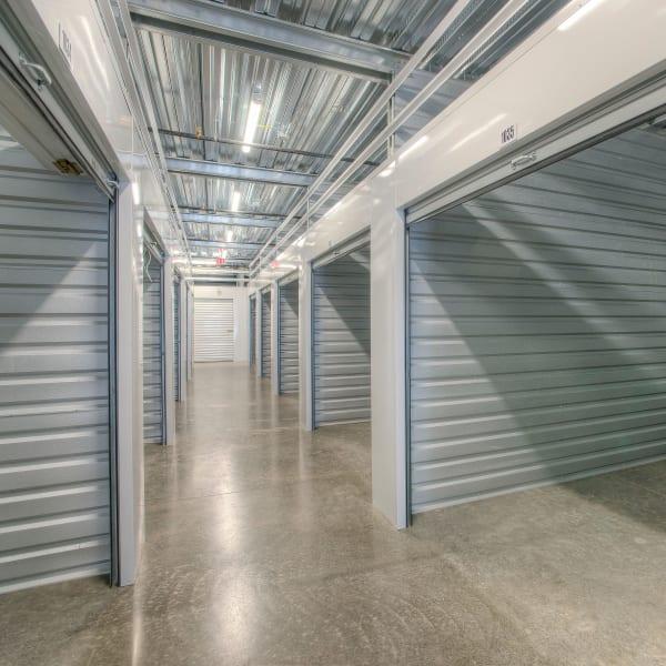 Open doors on indoor units at StorQuest Self Storage in Thornwood, New York