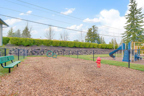 Fenced in dog park at Copperstone Apartment Homes in Everett, WA