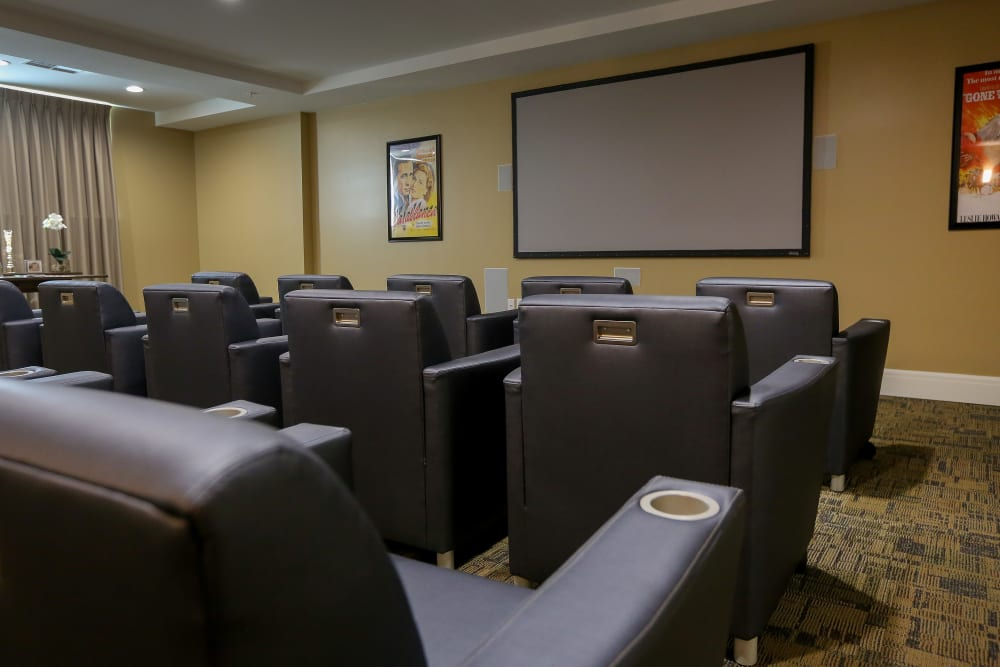 The onsite movie theater at Harmony at Martinsburg in Martinsburg, West Virginia