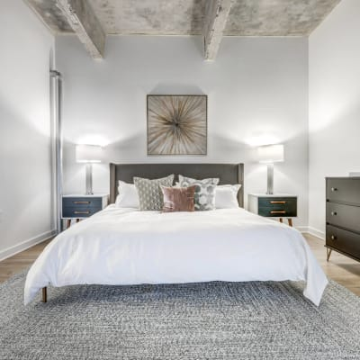 Luxury bedroom at 17th Street Lofts in Atlanta, Georgia