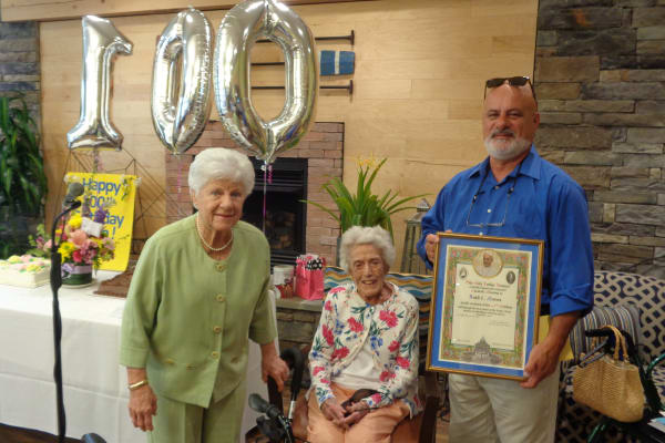 Ruth from The Summit turning 100 at Discovery Senior Living in Bonita Springs, Florida