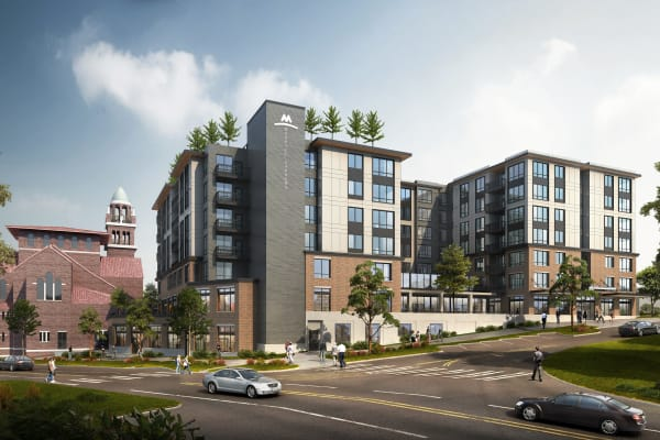 Rendering of the front entrance at Merrill Gardens at Wright Park in Tacoma, Washington.