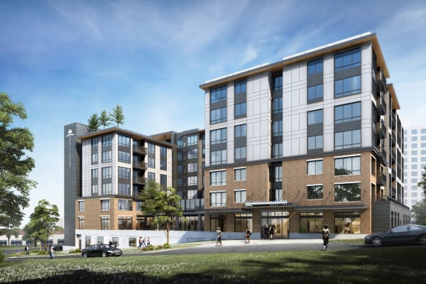 Rendering of the exterior of Merrill Gardens at Wright Park in Tacoma, Washington.