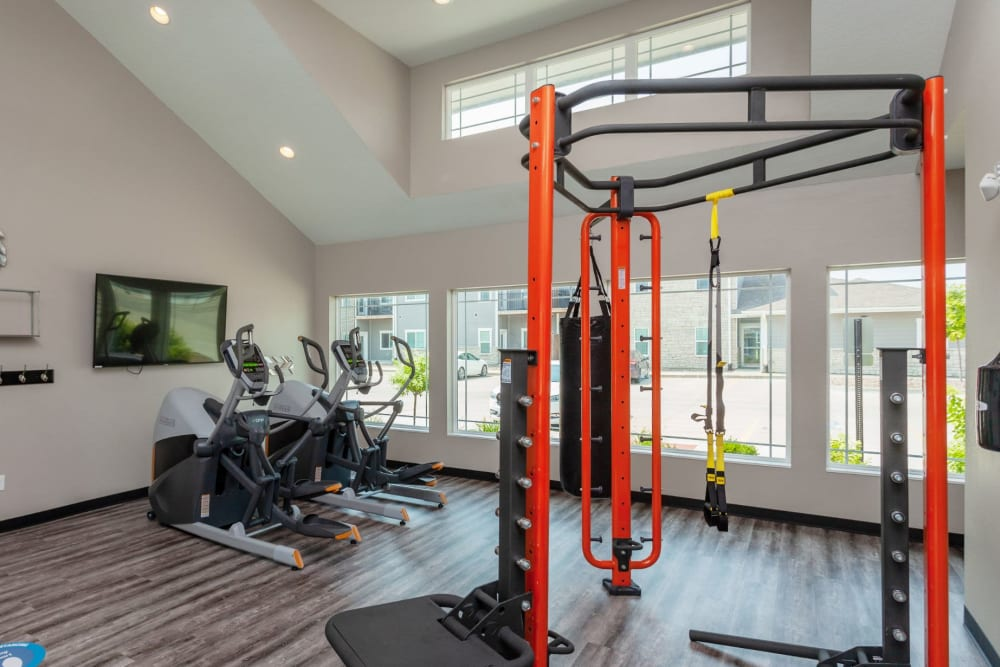 Friends working out together at Autumn Ridge in Waukee, Iowa