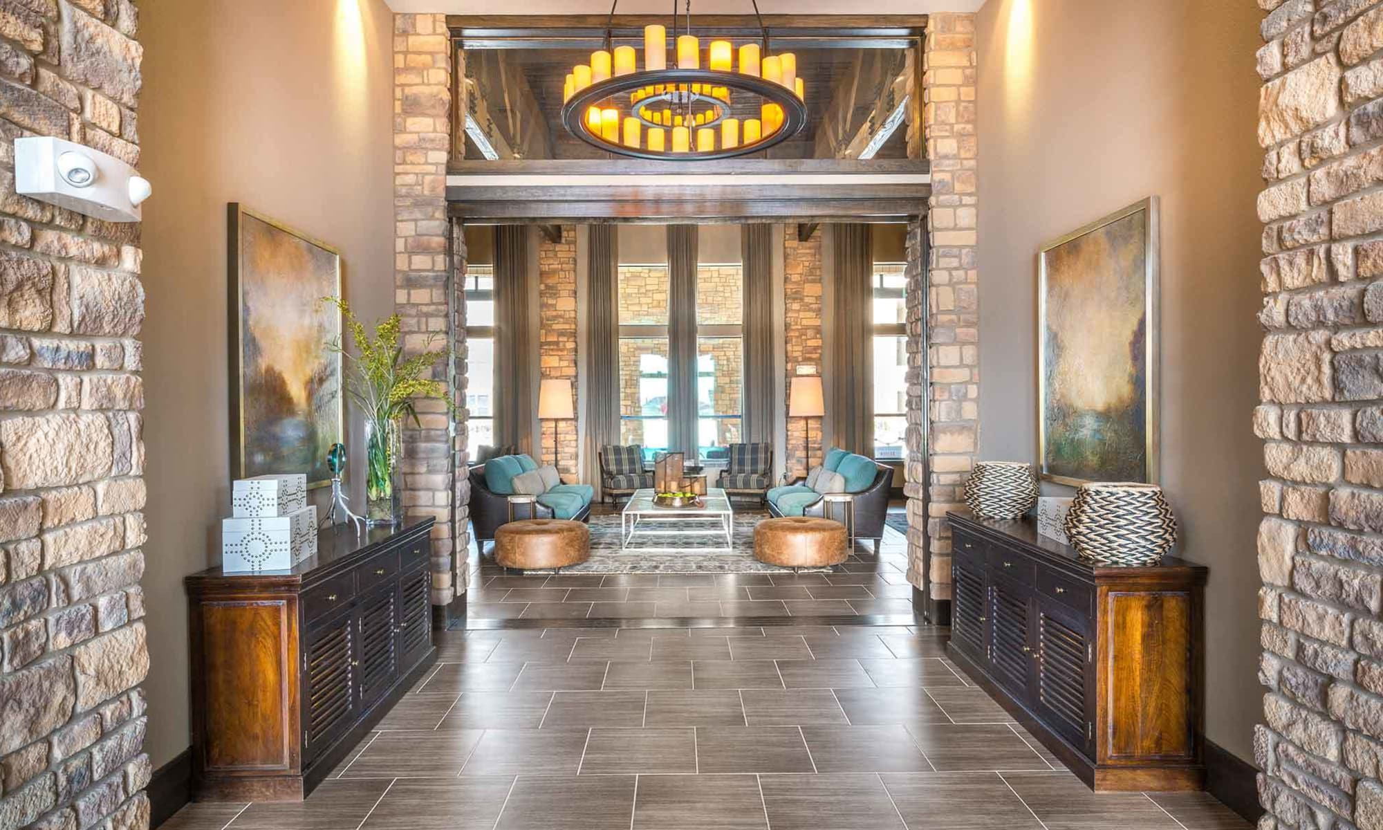 Interior view of The Abbey at Spring Town Center leasing center as you walk into the building, showcasing lavish features and finishes