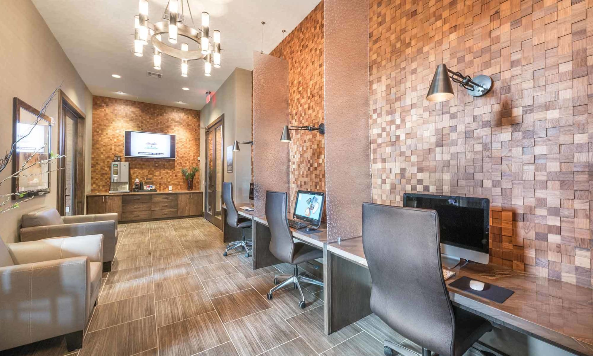 Well-equipped business center at The Abbey at Spring Town Center in Spring