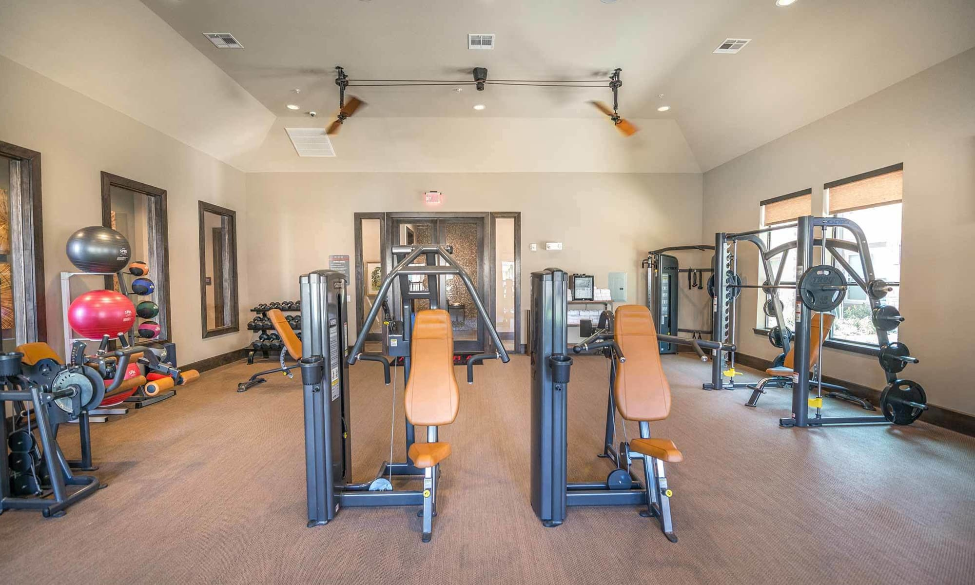 Fully equipped fitness center at The Abbey at Spring Town Center