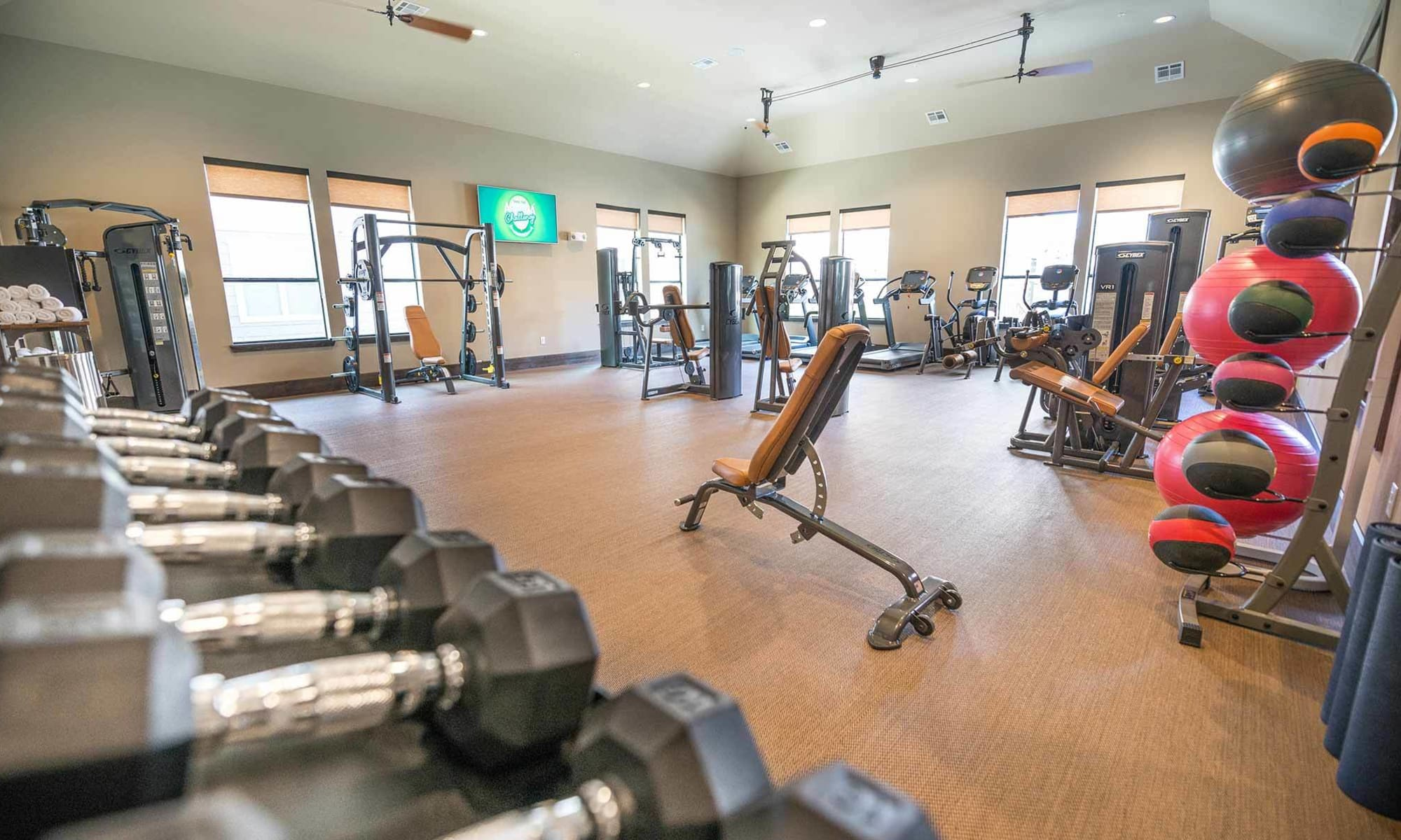 Free weights and more in The Abbey at Spring Town Center fitness center