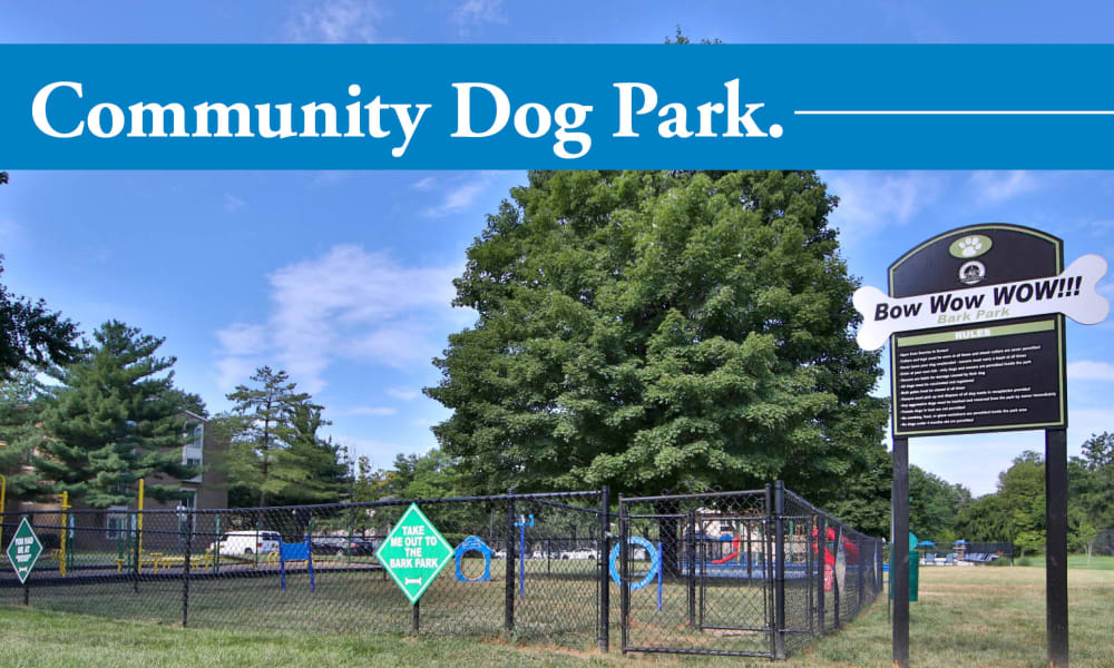 Beautiful dog park at Northampton Apartment Homes in Largo, Maryland
