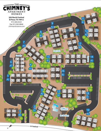 Site map for The Chimneys Apartments in El Paso, Texas