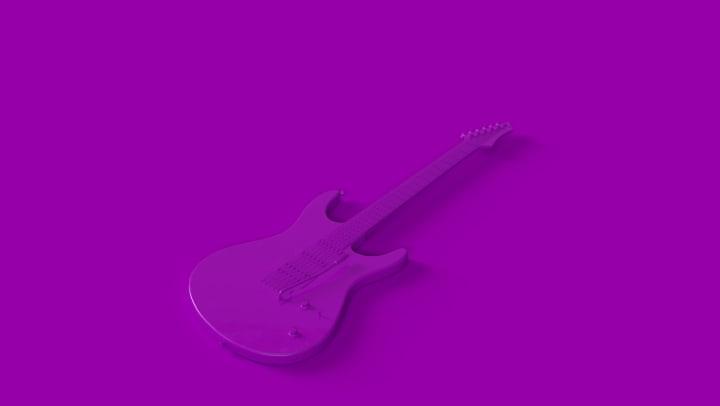 Purple electric guitar on purple background.