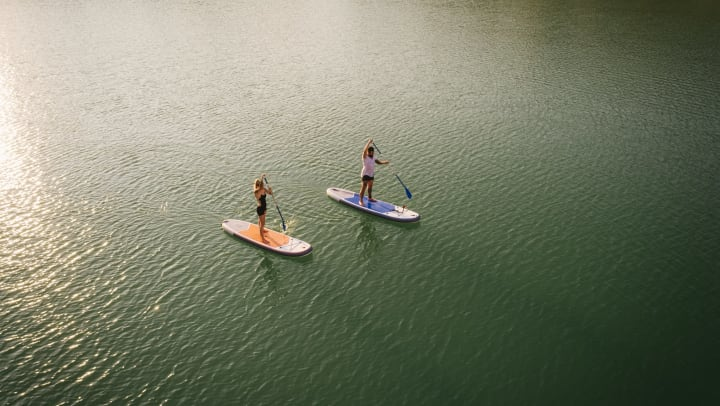 Man and woman standing on paddleboards in the water.
