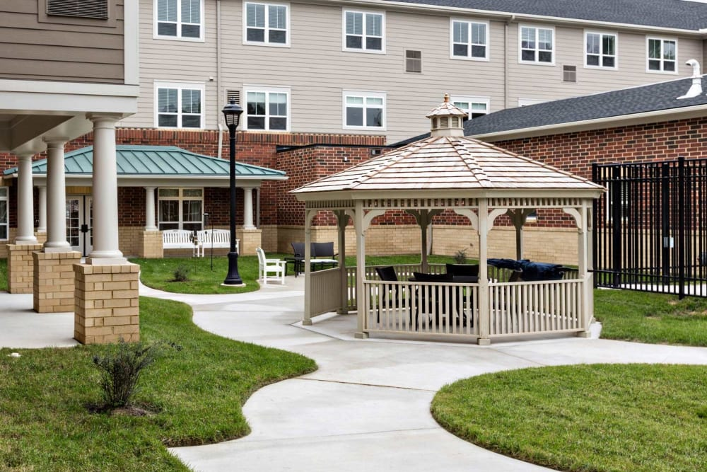 A gazebo in the courtyard at The Harmony Collection at Hanover in Mechanicsville, Virginia
