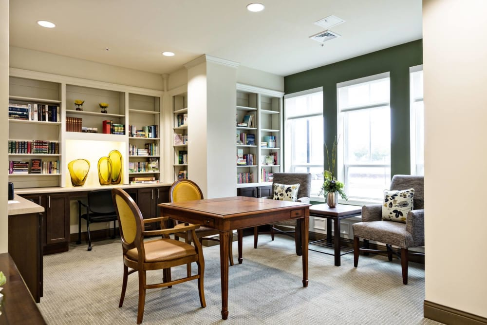 A quiet reading room at The Harmony Collection at Hanover in Mechanicsville, Virginia