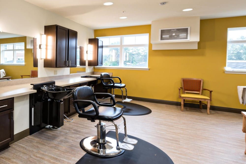 An onsite hair salon at The Harmony Collection at Hanover - Assisted Living & Memory Care in Mechanicsville, Virginia
