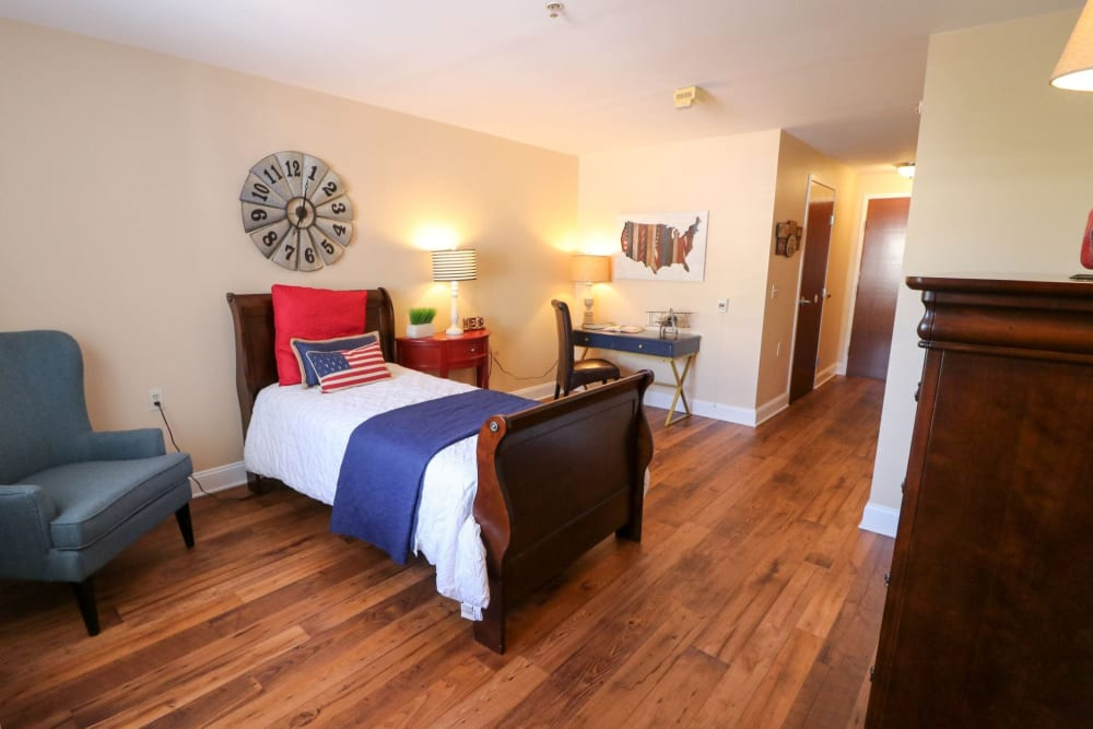 A decorated studio apartment at Harmony at Ironbridge in Chester, Virginia