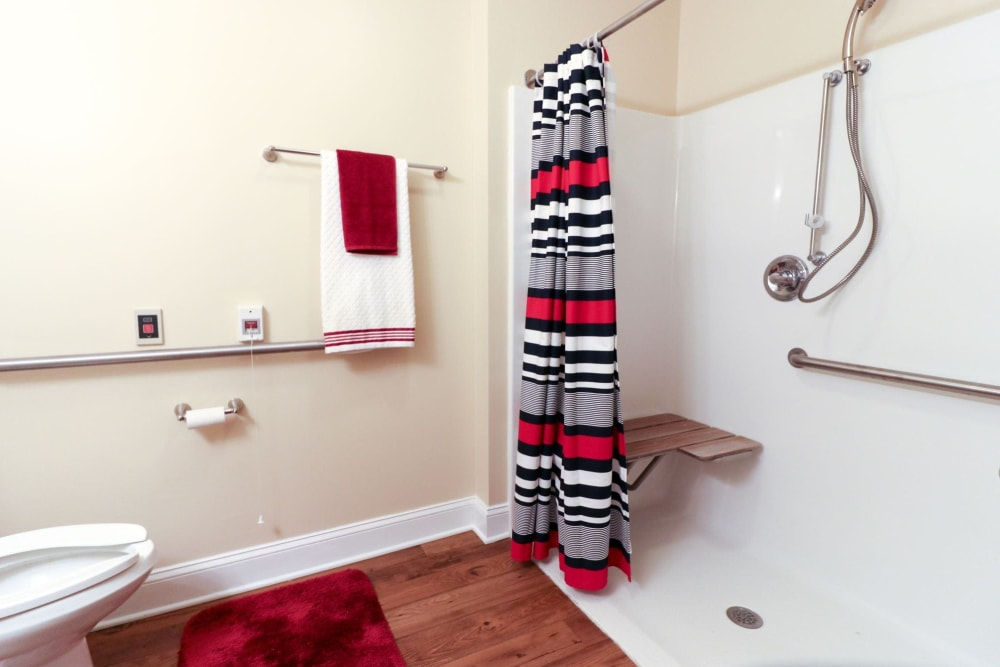 An apartment bathroom at Harmony at Ironbridge in Chester, Virginia