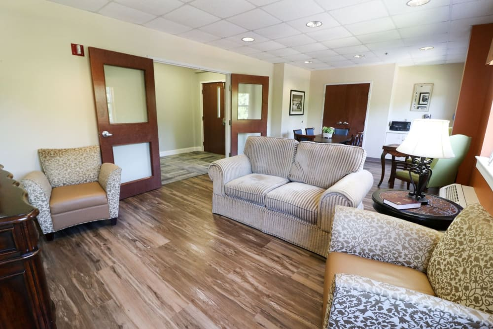 Lounge seating at Harmony at Ironbridge in Chester, Virginia