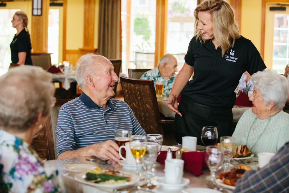 Residents enjoying a meal at The Springs at Missoula in Missoula, Montana.