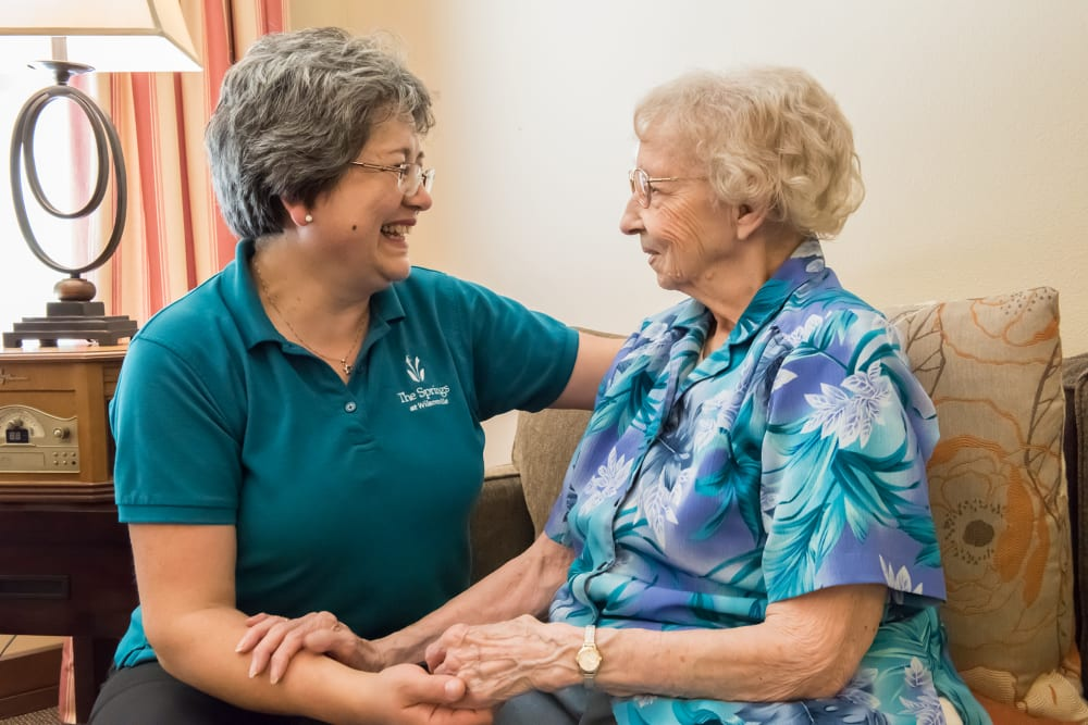 Caregiver with resident at The Springs at Wilsonville in Wilsonville, Oregon
