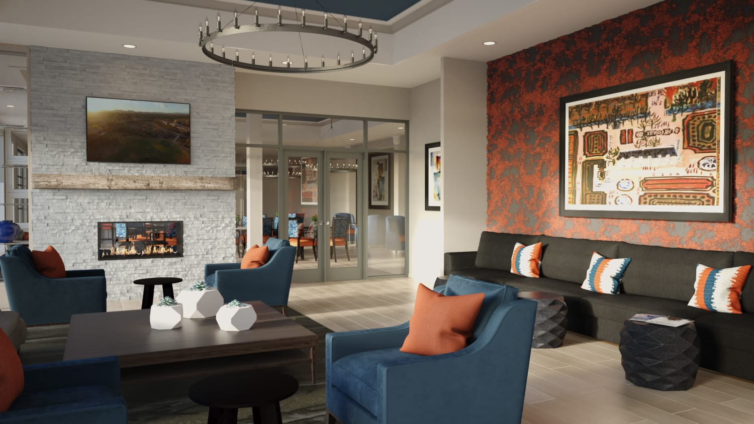Indoor lounge area at Avenida Lakewood senior living apartments in Lakewood, Colorado