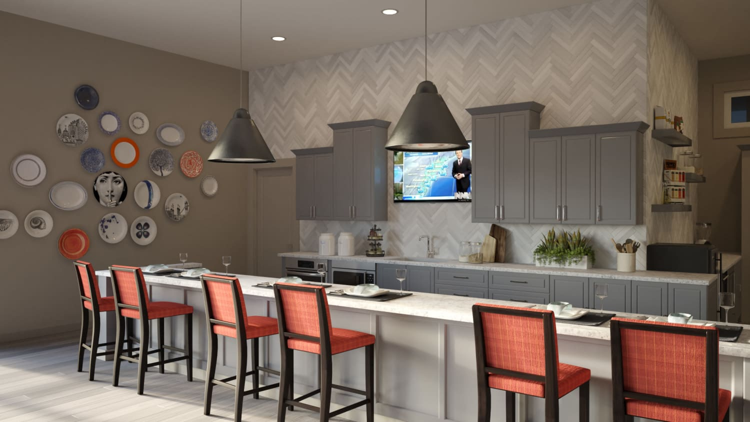 Community dining area at Avenida Lakewood senior living apartments in Lakewood, Colorado