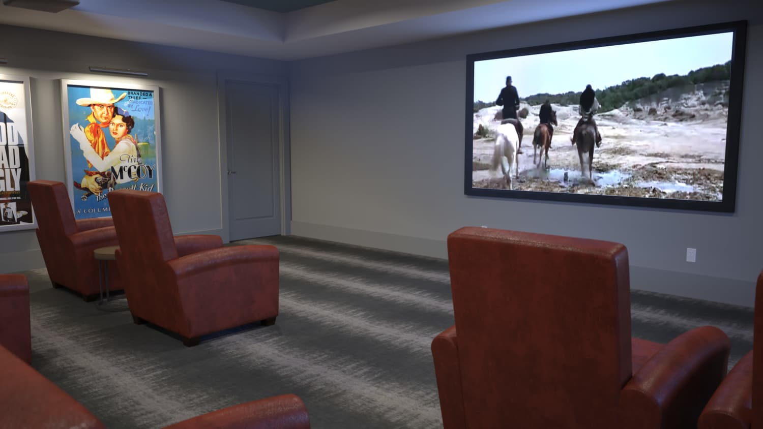 Private theater at Avenida Lakewood senior living apartments in Lakewood, Colorado